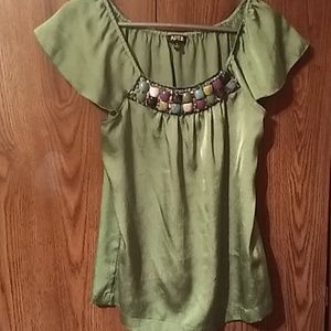 Apt 9 Green Top with Embellished neckline Medium